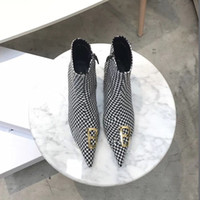 Wholesale fine c for sale - Group buy Luxury women shoes fashion superstar fine heel pointed new genuine leather houndstooth wool High heels classic boots for women new