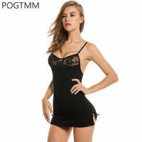 en seksi kadın seks bebekleri toptan satış-Kısa Mini Dantel Gece Elbise Lingerie Seksi Erotik Sıcak Iç Çamaşırı Seti Kadın Bebek Bebek Porno Chemise Kadın Seks Kostüm Siyah Kırmızı L3 D18110701