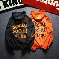 manteaux achat en gros de-Hommes veste manteau crème solaire occasionnels vêtements pour hommes vestes tops avec lettre imprimée revers capuche coupe-vent noir Streetwear S-XXL