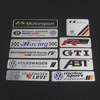 etiquetas engomadas del gt del golf al por mayor-Volkswagen VW Golf GTI Scirocco Passat B6 Touran Tiguan Jetta GTI ABT R LINE Rline Motorsport Sport Racing Emblema de guardabarros de metal Sticker