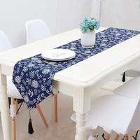 literie à motif bleu achat en gros de-Chemin de table Rétro Tissu Art Impression Coton Linge Style Ethnique Lit Drapeau Boutique Décorer Bleu Motif Caboteurs Populaire 23qcb4 V