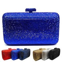 синяя свадебная сумка оптовых-LaiSC wholesale  navy blue evening handbag Red crystal Clutch bag women evening bag Wedding purse bride pochette SC042