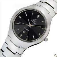 relojes de lujo de acero de tungsteno al por mayor-HK de lujo marca hombre amantes de la señora relojes de pulsera de cuarzo cristal impermeable de acero de tungsteno calendario fecha semana hombres negocios relojes