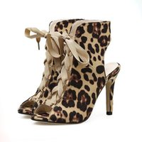 Wholesale leopard high heels peep toe - Roman Style Women High Heel Animal Prints Leopard Lace Up Peep Toe Pumps Size 35 To 40