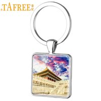 keychain picture NZ - TAFREE The Imperial Palace in Beijing Art Picture Square Keychain Forbidden City Glass Dome Men Pendent Jewelry GG12