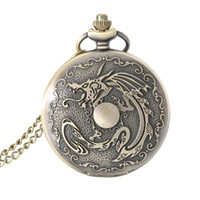 Wholesale Birthday Gift Watches For Women - Pocket Watch Gift Vintage Dragon Alloy Pocket Watch Necklace Chain Quartz Fob Watches Men Women Birthday Gifts For Father LL@17