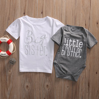 Wholesale Big Boys Outfits - Big Sister and Brother Family Matching Outfits Infant Baby Little Brother Boy Romper Big Sister T-shirt Cotton Clothes Outfits