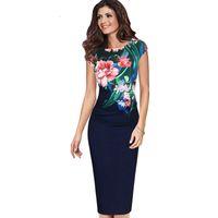vestidos de moda para ocasiões especiais venda por atacado-Lcw New Fashion Womens florais do vintage Flor Impresso Ruched Pinup Casual Partido Bainha ocasião especial Vestido Bodycon