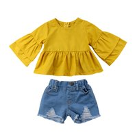 ingrosso bambino giallo della camicia del manicotto giallo-Toddler Neonate Summer Fashion Sweet 2PCS Sets Long Flare Sleeve Solid Yellow Ruffles T-Shirts Top Blue Denim Shorts 6M-4Y