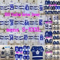 kadri jersey al por mayor-Maple Leafs Jersey de Toronto 91 John Tavares 16 Mitch Marner 31 Frederik Andersen 34 Auston Matthews 43 Maillots femeninos para hombre Nazem Kadri para mujer