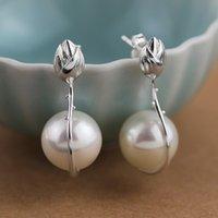 boucle d'oreille mère perle fleur achat en gros de-Argent sterling 925 mère de nacre Vintage Lotus Flower Stud boucles d'oreilles pour les femmes bijoux de mode