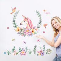 ingrosso uccelli da parete decor-adesivi di grandi dimensioni unicorno petalo uccelli adesivi animali decorazioni per la casa soggiorno camera da letto decalcomanie carta da parati adesivi murali per bambini