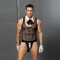 heiße uniformen magd großhandel-Männer Sexy Kostüme Hot Erotic Sexy Bunny Cosplay Kostüme Kaninchen Bunny Maid Rolle Spielen Männer Halloween Kostüme Maid Uniformen Man
