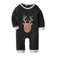 moda giyim modelleri toptan satış-Cadılar bayramı hayvan geyik baskı ilkbahar sonbahar modelleri pamuk uzun kollu HaYi giyim Avrupa ve Amerikan moda bebek onesies
