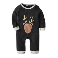 Wholesale model boys american for sale - Halloween animal deer print spring autumn models cotton long sleeved HaYi clothing European and American fashion baby onesies