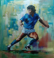 Wholesale world figure painting resale online - Diego Maradona Football World Cup HandPainted HD Print Modern Wall Art Oil Painting Home Decor On Canvas Multi sizes frame Options P166