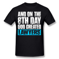 Wholesale Create Shirt - Coupons Man 100% Cotton And On The 8th Day God Created Lawyers T Shirts Man O-Neck Beige Tshirt Tops Camisetas Plus Size Casual T Shirts