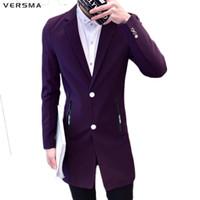 long purple blazer al por mayor-VERSMA Purple Red Men Chaqueta larga de traje chaqueta Hombres BF Casual Fashion Slim Fit Última capa de diseño Stylish Blazers Trajes Ropa de fiesta