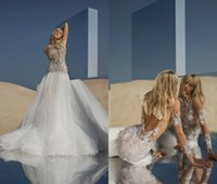 Wholesale pnina tornai wedding dresses sleeves online - 2018 Pnina Tornai Mermaid Wedding Dresses Illusion Tulle Bling Beaded Sequin Sweep Train Long Sleeve Bridal Dress Backless Boho Wedding Gown