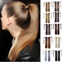 cabello humano recta cola de caballo al por mayor-Hot New Real New Clip en extensión de cabello humano Pony Tail Wrap Around Ponytail 27 de octubre