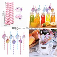 Wholesale colorful favors - Unicorn Paper Drinking Straw Colorful Straws Unicorn Birthday Decorations Baby Shower Kids Children Party Favors GGA421 2000PCS