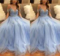 mavi kısa tül elbiseler toptan satış-2018 Sky Blue Boncuklu Kristal Balo Quinceanera Elbiseler Seksi Tül V Yaka Kısa Kollu Muhteşem Abiye giyim Gelinlik Modelleri