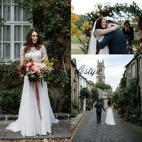 Wholesale Jenny Packham Long Sleeve - Vintage Luxury Crystal Garden Wedding Dresses 2018 Modest Jenny Packham Jewel Cap Sleeve Fairytale Outdoor Farm Country Bridal Dress