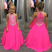 Wholesale yellow lovely gowns - 2018 Lovely Fuchsia Beaded Crystals Girls Pageant Dresses A Line Halter Neck Kids Celebrity Evening Prom Party Gowns Custom Made BA7601