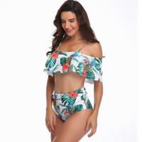 şeritler kadın mayo toptan satış-Yeni plaj kıyafeti Beyaz ananas printingfashion mayo Yüksek Kalite Kadınlar Su Sporları Mayo Şeritleri ile göğüs Yüksek bel Bikini Set