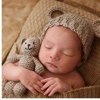 tığ bebeği ayı şapkası toptan satış-Ayı ve Bebek Kap Bebek Fotoğraf Aksesuarları Yenidoğan Fotoğraf Sahne Bebek Şapka Kız Erkek Beanies Tığ Örgü Kostüm