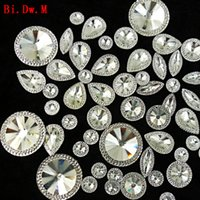 Wholesale Artificial Crystals For Decoration - Nice Round Marquise Pear Resin Rhinestone Mix Silver Strass Crystal Stones For Crafts Sewing Home And Garden Wedding Decoration