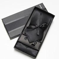 kravat seti hırka kol düğmesi toptan satış-Kravat Kol Düğmeleri Hanky Kravatlar erkek kol düğmeleri boyun kravat hankies katı kravat setleri 10 renkler