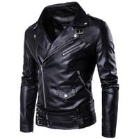 новая одежда панков оптовых-Wholesale- 2017 Spring Men Motorcycle leather jackets Male Casual Lapel Coats  New clothing European Size Slim Fit Punk Jacket D101