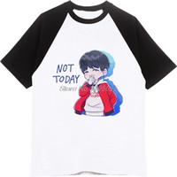 algodão jin venda por atacado-Shirt Tops Meninos Bangtan T-shirt Jung Kook Jimin Suga V K- Jin Rap monstro poster T Shirt Raglan Homens de algodão de manga de Verão de