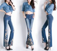 Wholesale ladies bell bottoms - Gorgeous Embroidered Blue Jeans Ladies Flared Pants Stretch Comfort Bell-bottom Trousers for Women Fashion Elasticity