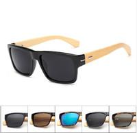 Wholesale Wood Sunglasses Wholesale - Vintage Retro Black Handmade Bamboo Wood Sunglasses Men Square Sun Glasses For Men UV400 Outdoor Goggles lunettes Oculo 5119