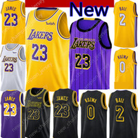 2019 Nuovo 23 LeBron James Los Angeles Lakers 2 Lonzo Ball 0 Kyle Kuzma 14  Brandon Ingram Pullover di pallacanestro 8 kobe Black city e5a153eae2a7