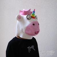 ingrosso faccia del fumetto degli animali-Lovely Unicorn Mask Cartoon Full Face maschere maschere non tossici coperchio per la festa di Halloween Nuovo arrivo 40cs BB