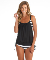 modest swimwear - High Quality Modest Black and White Striped Two Piece Swimsuits Tankini Swimwear for Womens Girls