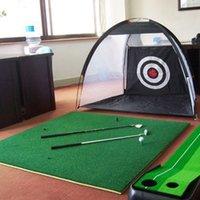 Wholesale swing sets resale online - 2m Mini Golf Cage Swing Trainer Pad Set Indoor Golf Practice net Exerciser Swing Net Fight Cage