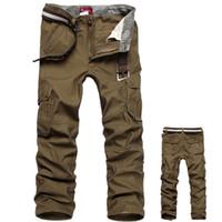 pantalones de camuflaje marrón al por mayor-Pantalones de camuflaje Pantalones Cargo para hombres Pantalones militares para el ejército 100% algodón Caqui / Verde / Marrón / Negro Pantalones largos para hombres de talla grande 30-44 2018