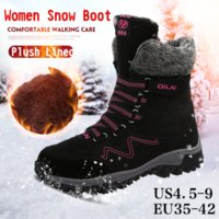 2e4a29d90772 Women Fur Lined Winter Snow Boots Lightweight Sneakers Womens Warm Outdoor  Water Resistant Lace up Casual Walking Mid Calf Ice Maiden Boots