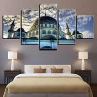 Wholesale islamic canvases - Pictures HD Prints 5 Pieces Muslim Mosque Painting Islamic Religion Sky Clouds Building Poster Canvas Wall Art Home Decor Framed