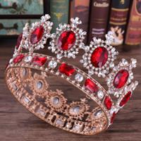 ingrosso corone rotonde per spose-Red Queen Crown Crystal Diadem Round Wedding Crown Baroque Headband Wedding Accessories Accessori per capelli Diadem Ornamento dei capelli