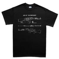 ingrosso ak 74-Camicie di cotone O Neck uomo Ak 47 Ak 74 Fucile Gun Sks T-shirt Yugo Sling Blueprint sovietico