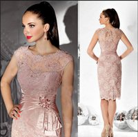 Wholesale burgundy mother bride dresses knee length resale online - 2018 Sexy Illusion Cocktail Dresses Knee Length Lace Appliques Beaded Sheath Mother of the bride Dress