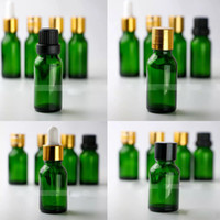 ingrosso 15ml bottiglie di olio essenziale verde-DHL libero 624PCS cartone 15ml bottiglie di vetro contagocce di vetro all'ingrosso bottiglie vuote di vetro 15 ml con tappo a vite per olio essenziale di eliquidi