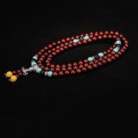 bilezik rosary boncuklar sandal ağacı toptan satış-Doğal Lobüler Kırmızı Sandal Bilezikler 108 Buda Tespih Boncuk Kolye el dize Tibet tarzı ahşap Takı toptan