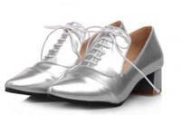 Wholesale handsome pump - 2015 British style leather strap shoes handsome tip with rough with bride wedding size shoes