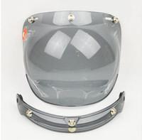 lentes usadas venda por atacado-1 pcs Uso Comum Capacete Da Motocicleta Viseira Jato Antiqued para Hallar Casco Máscara Do Capacete Do Vintage Bolha Visor Lens Capacete Acessórios